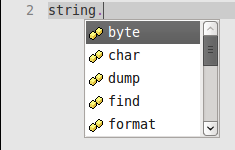 Autocomplete Lua String